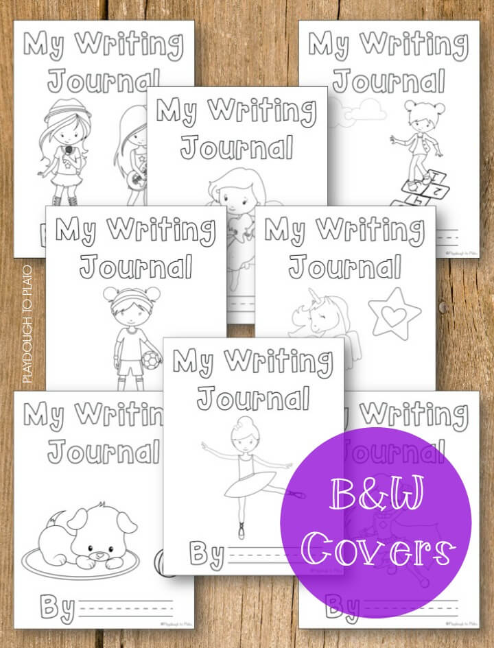 Or save ink and have kids color their own black and white cover.