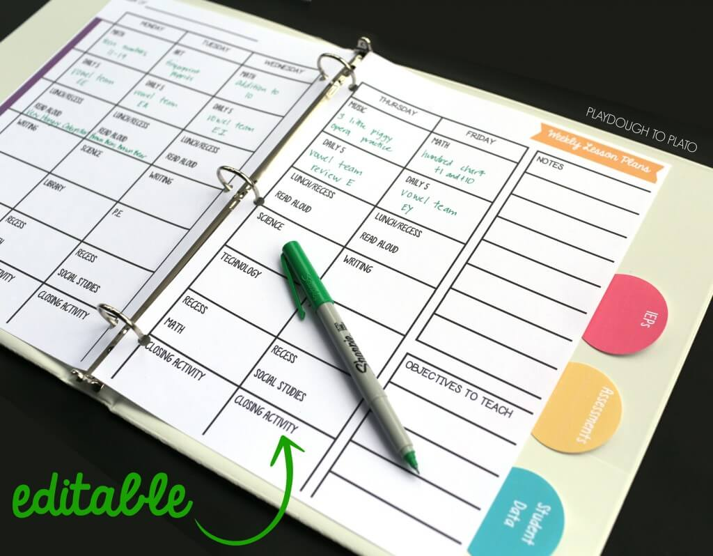 Effortless image with free printable teacher planner