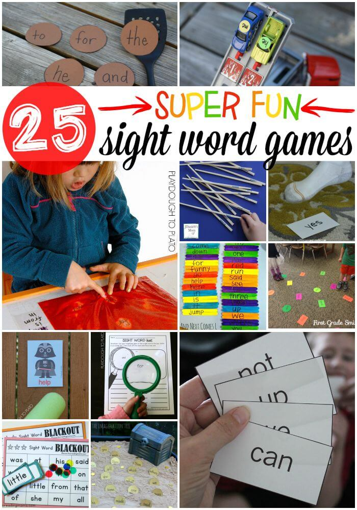 25 Super Fun Sight Word Games for Kids. Tons of ideas in this roundup - crafts, printables, active sight word games...