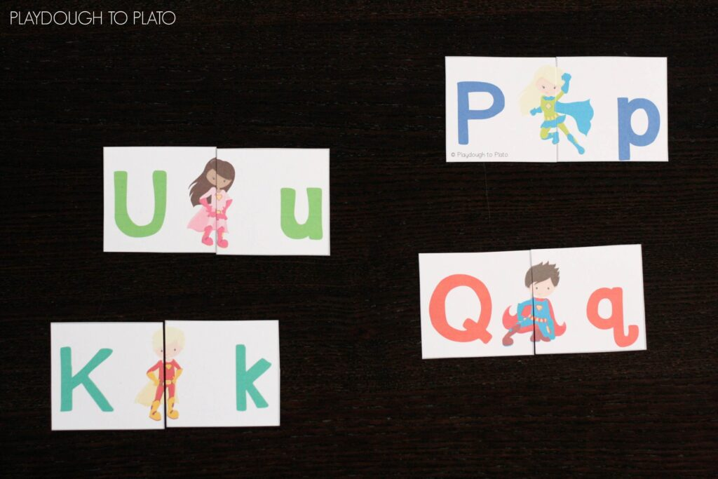 Free Superhero ABC Game. Such a fun way to pracitce upper and lowercase pairs.