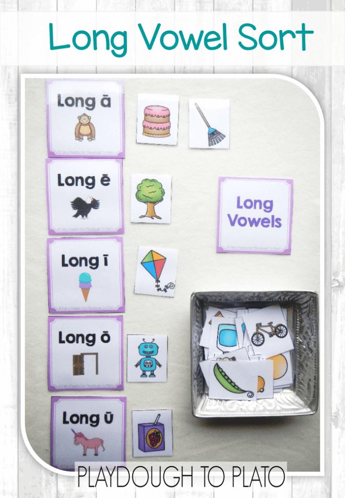 Free Short Vowel And Long Vowel Sort Playdough To Plato