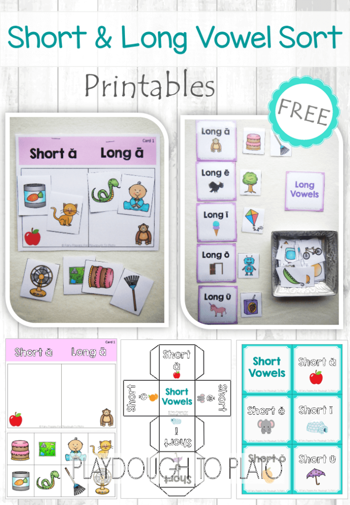Free Short Vowel And Long Vowel Sort Playdough To Plato