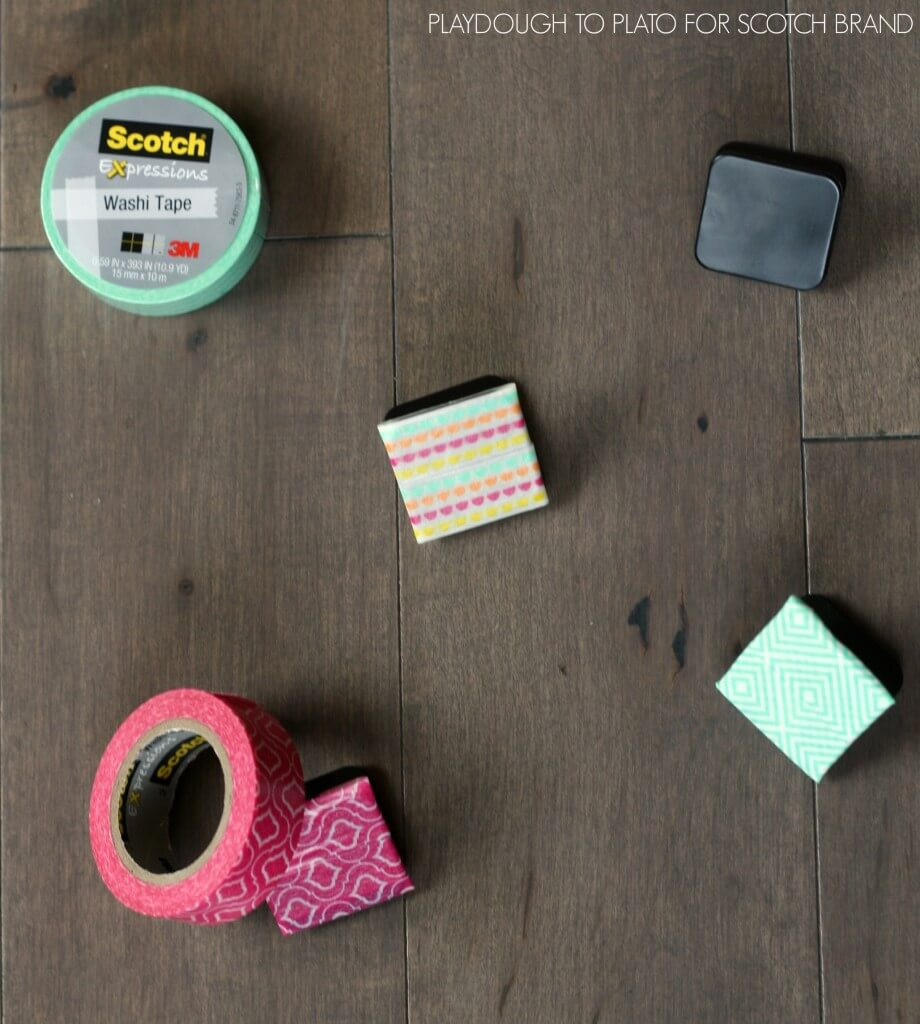 Super cute magnets covered with Scotch Expressions Tape