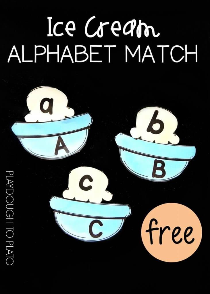 ice cream alphabet match pin