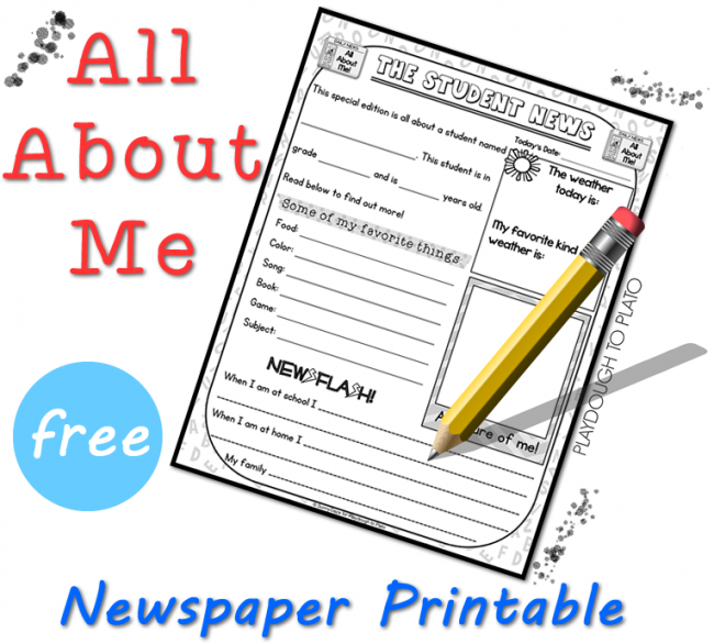 All About Me Free Printable - Playdough To Plato