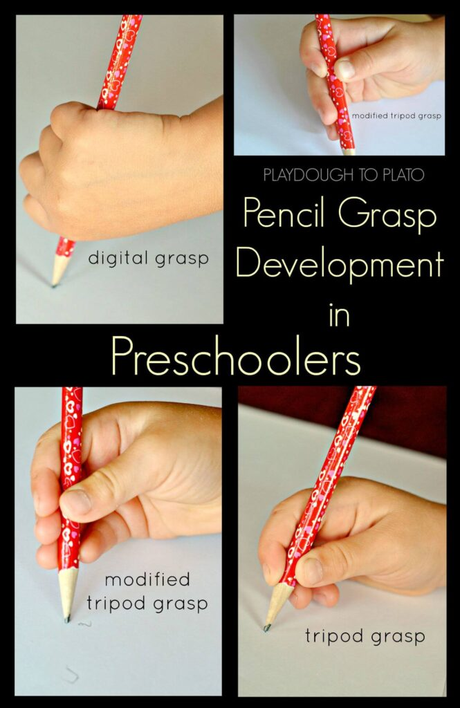 Pencil grasp development in preschoolers. What it looks like and how to teach it.