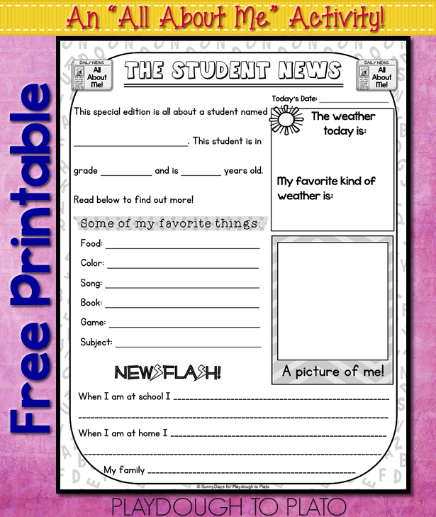 Persnickety image with all about me free printable