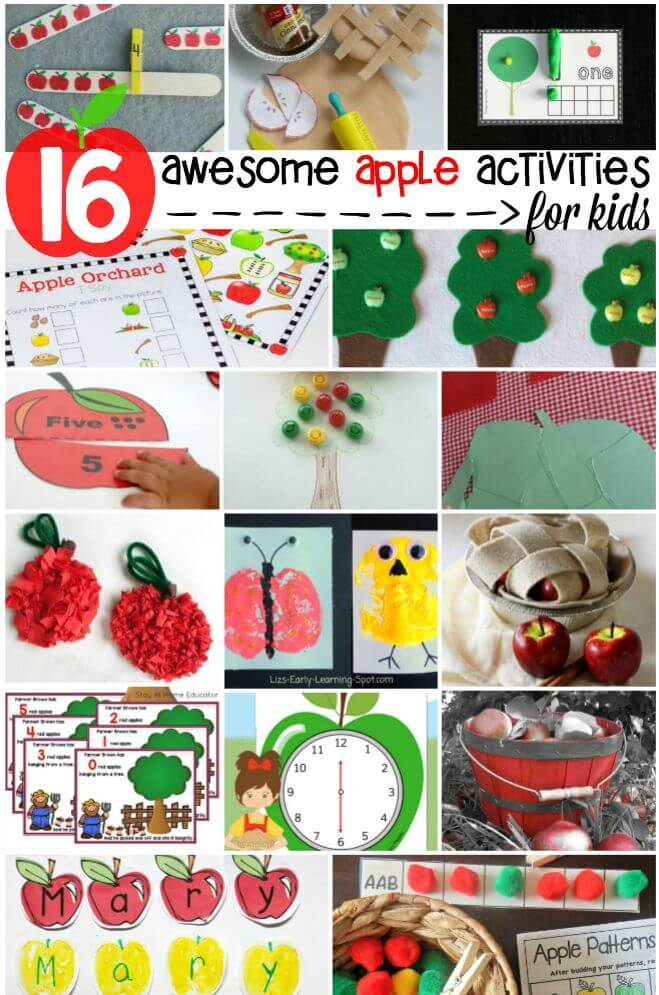 16 awesome apple activities for kids. Craft projects, math games, free printables... tons of stuff!