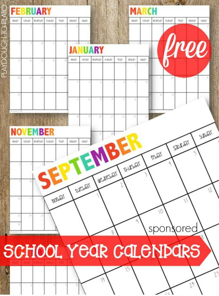 Free school calendars, meal planning sheets and helpful tips on creating a super organized family command center.