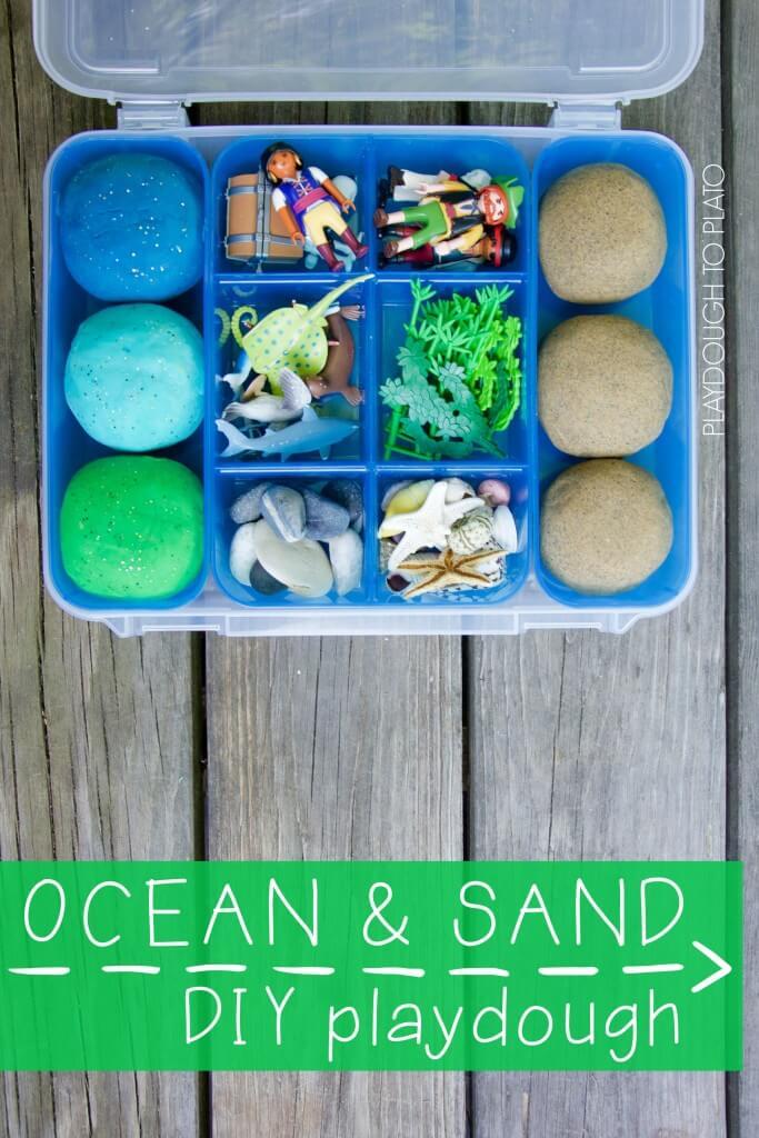 Super squishy, easy to make ocean and sand playdough recipe.