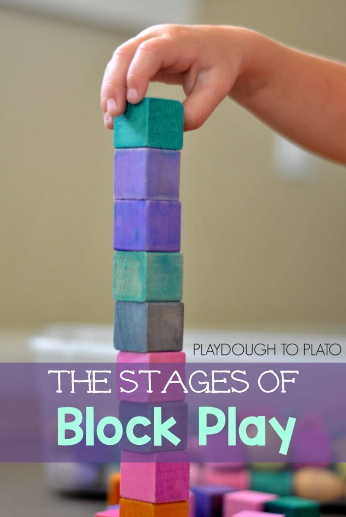 the stages of block play and why it is important for fine motor development - Playdough to Plato