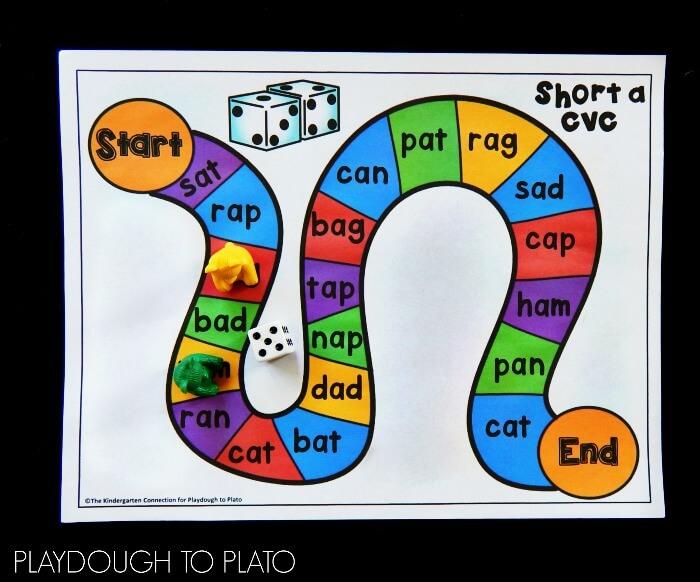 free cvc word board games playdough to plato
