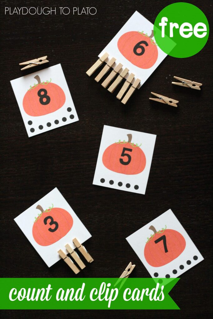 FREE Pumpkin Count and Clip Cards. What a fun way to practice number recognition, counting, one-to-one-correspondence... so many things. Perfect fall activity for kids!