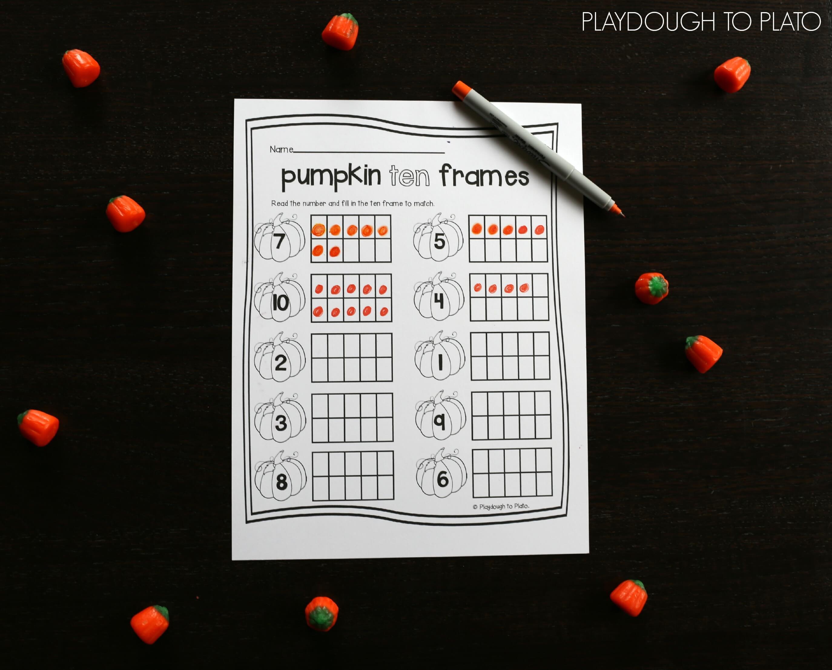 Pumpkin Ten Frames - Playdough To Plato