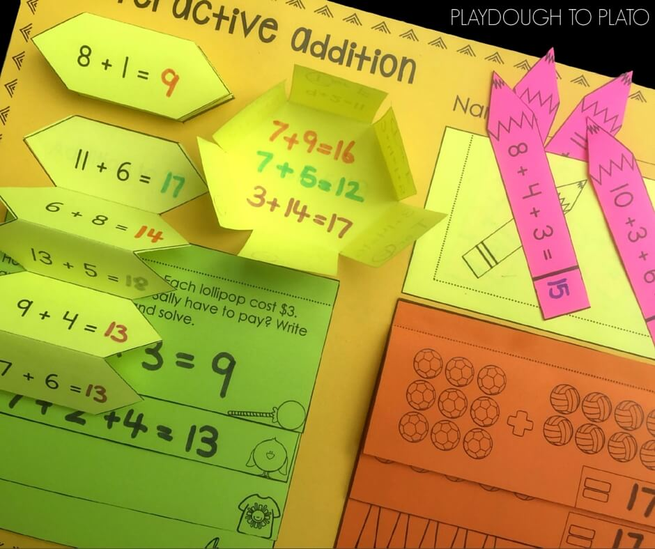 Working on addition to 20 with this free interactive printable!