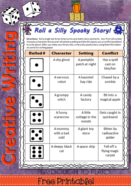 roll a silly spooky story playdough to plato pin roll1