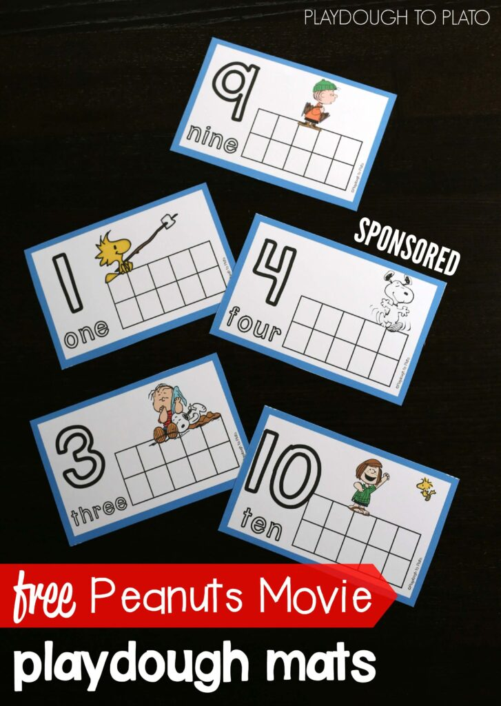 Awesome FREE playdough mats for the new Peanuts Movie. Fun kids activity practicing counting, fine motor skills, number formation and more.