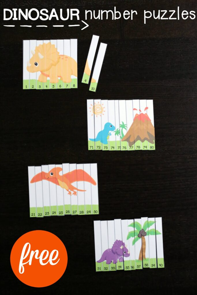 FREE Dinosaur Number Puzzles. Fun way to practice the numbers 1 to 100. Great for counting, number recognition, number sequencing and more. Perfect for a dinosaur unit!