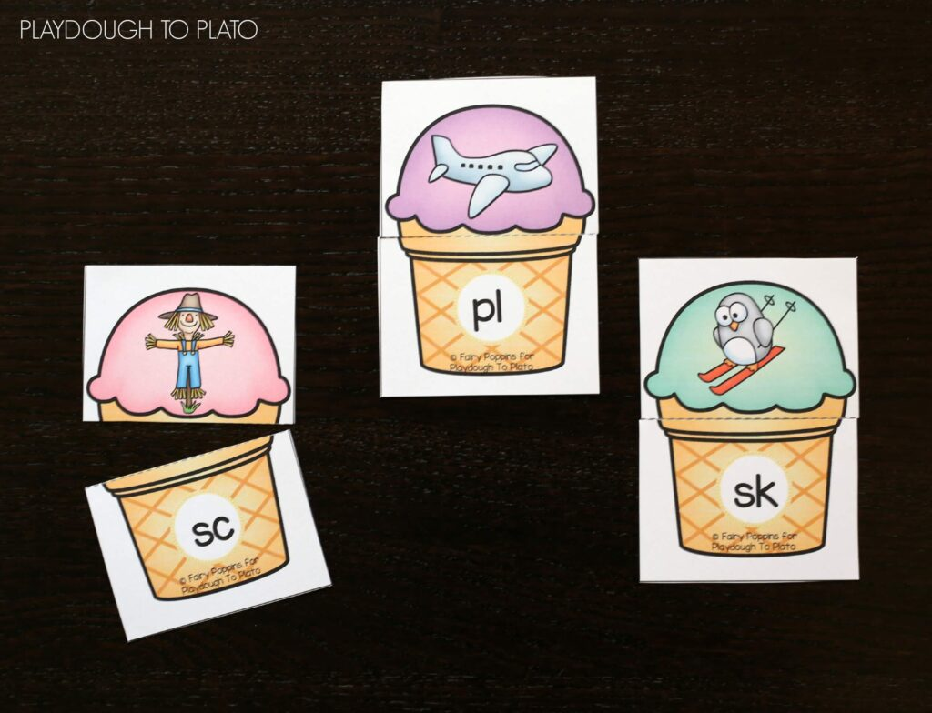 FREE Ice Cream Blends Puzzles. Such a fun blends activity for kids!