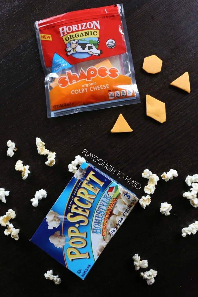 Healthy kids' snack Shapes cheese and Pop-Secret popcorn!