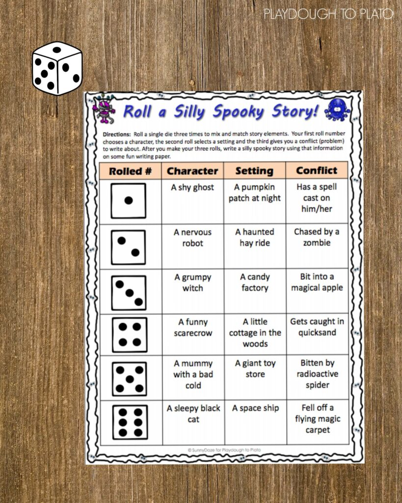 Such a fun way to get kids writing!! Roll a silly spooky story.