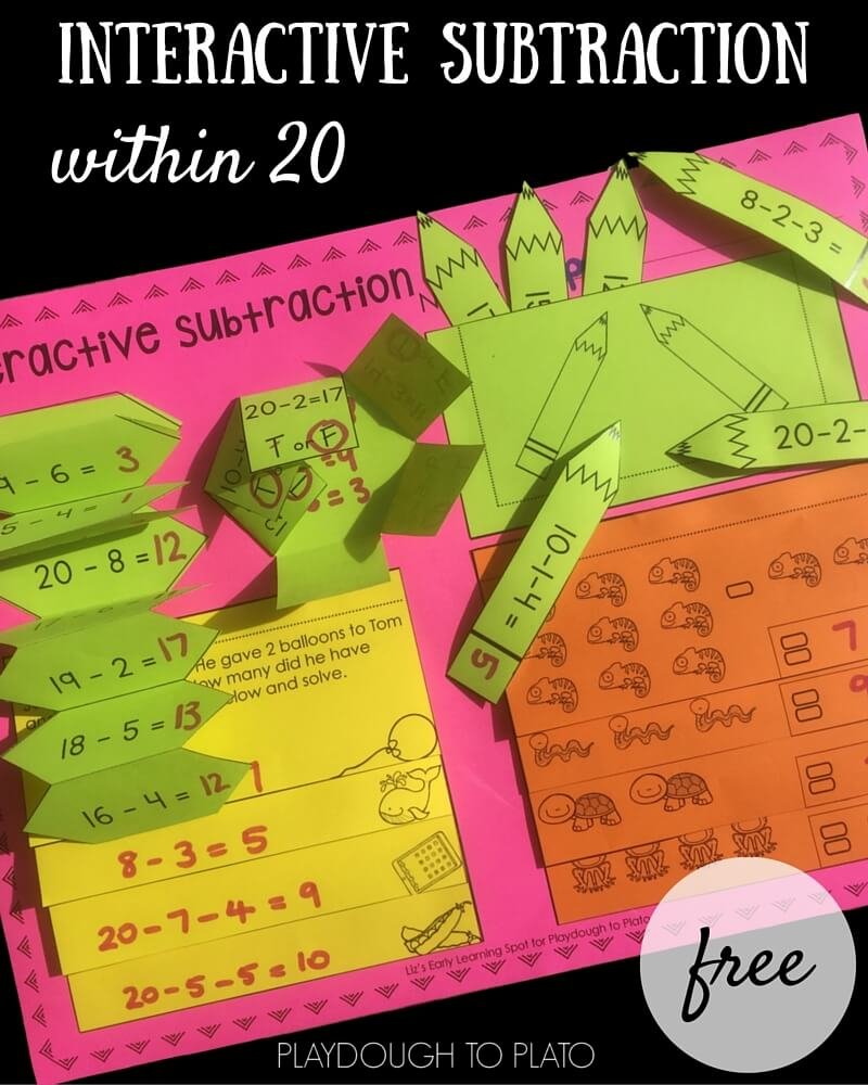 A FREE interactive notebook activity for subtraction within 20.