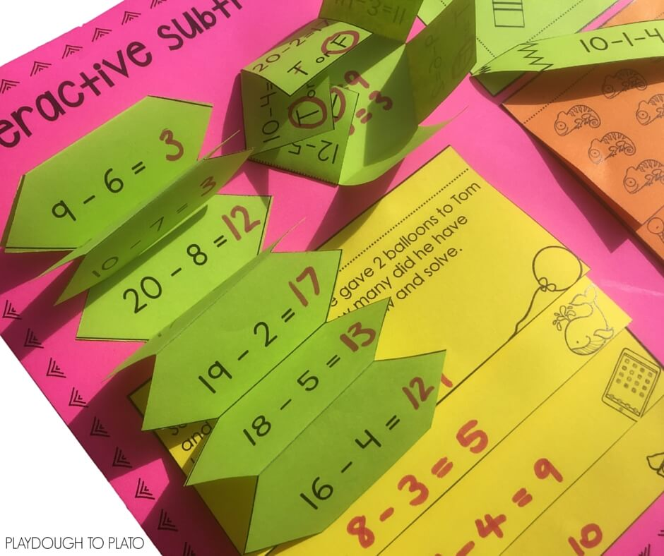 Download this free interactive notebook activity for subtraction within 20.