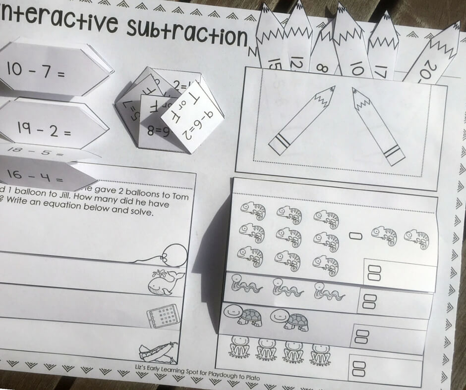 An interactive notebook activity for subtraction within 20.