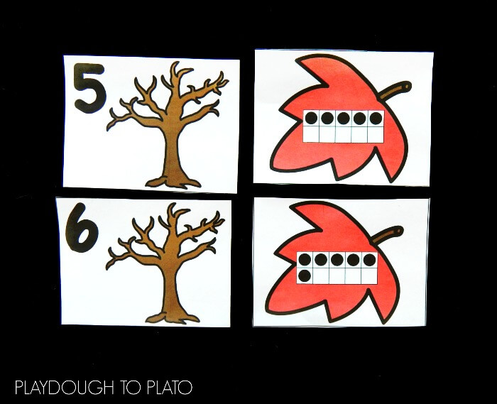 ten frame matching leaves 3
