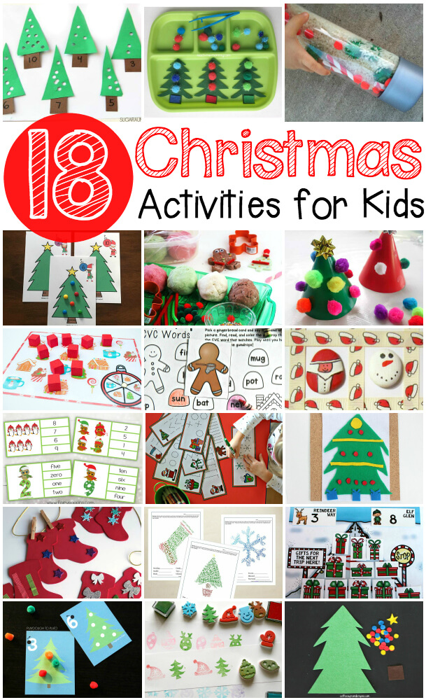 18 fun Christmas activities for kids. Math games, fine motor projects, ABC activities... lots of Christmas ideas!