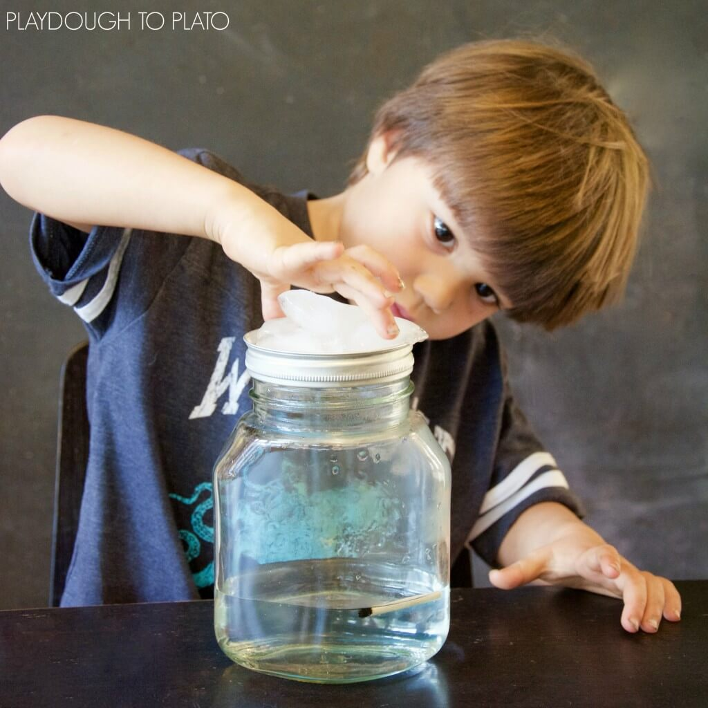 Make a cloud in a jar! What an awesome science experiment for kids.