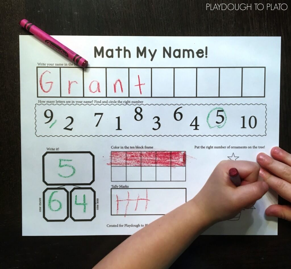 Awesome math activity for kids. Write the name and then tally, ten frame, count and write the number of letters.