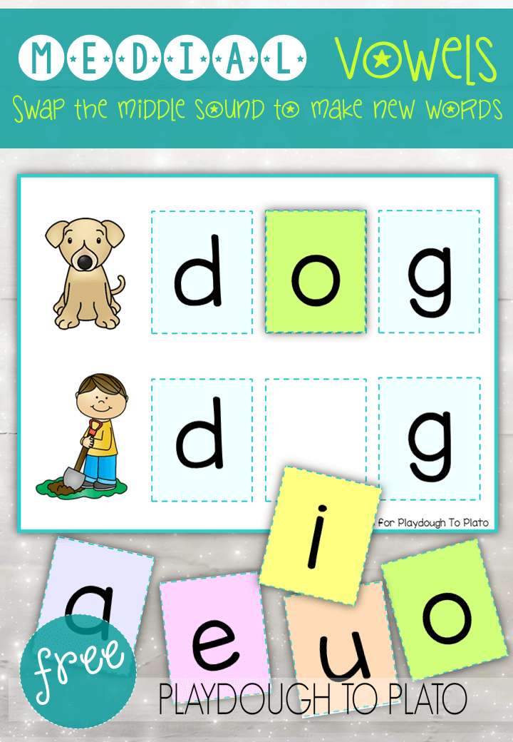 Vowel Word Cards And Puzzles Playdough To Plato