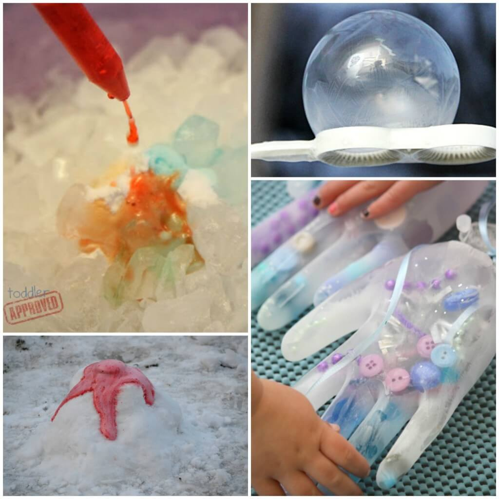 Tons of Frozen themed science experiments for kids! Make fizzy ice, melt frozen Elsa hands and more.