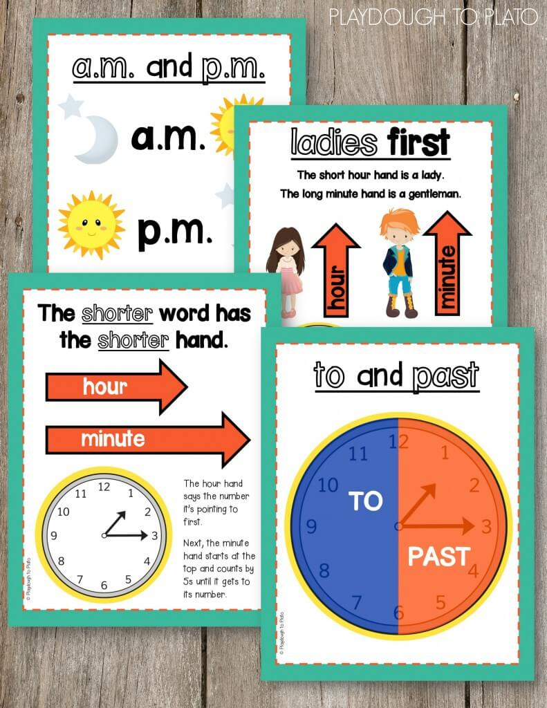 Awesome telling time posters! Helpful anchor charts for kids!