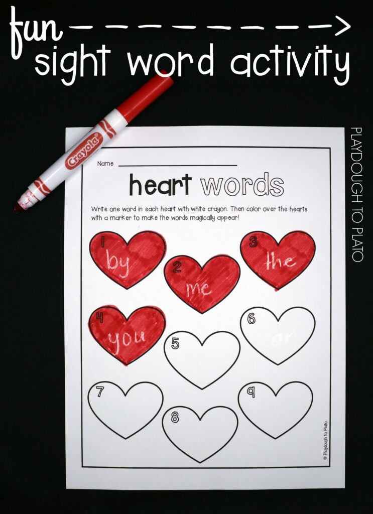 FREE sight word activity for kids! Write the words in white crayon and then color the hearts with marker to make them magically appear. So simple and fun!