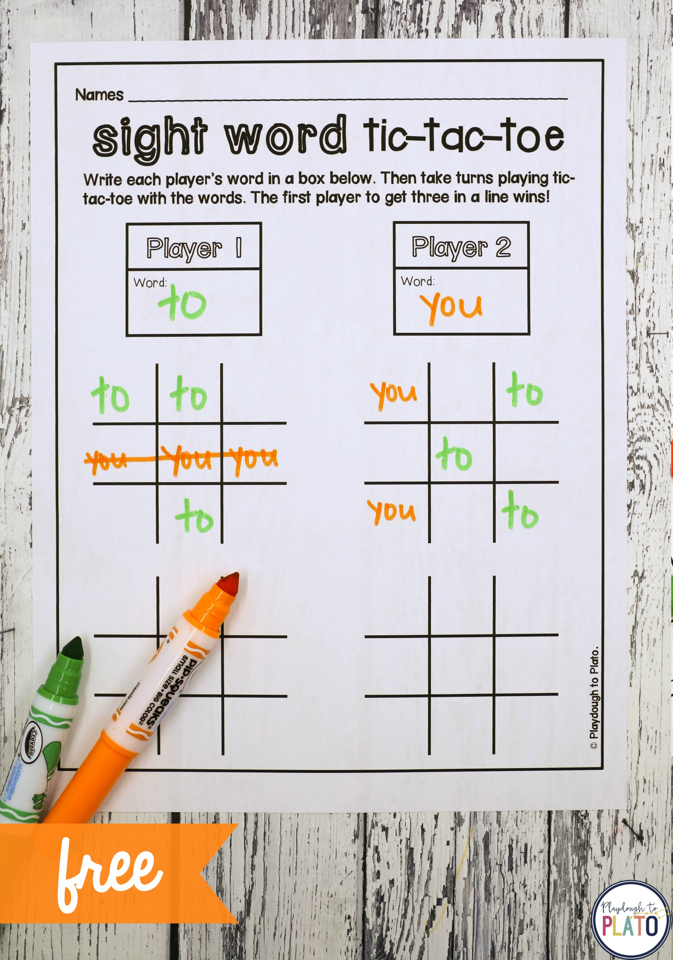 Alphabet and Sight Word Tic-Tac-Toe - Playdough To Plato Throughout Tic Tac Toe Template Word