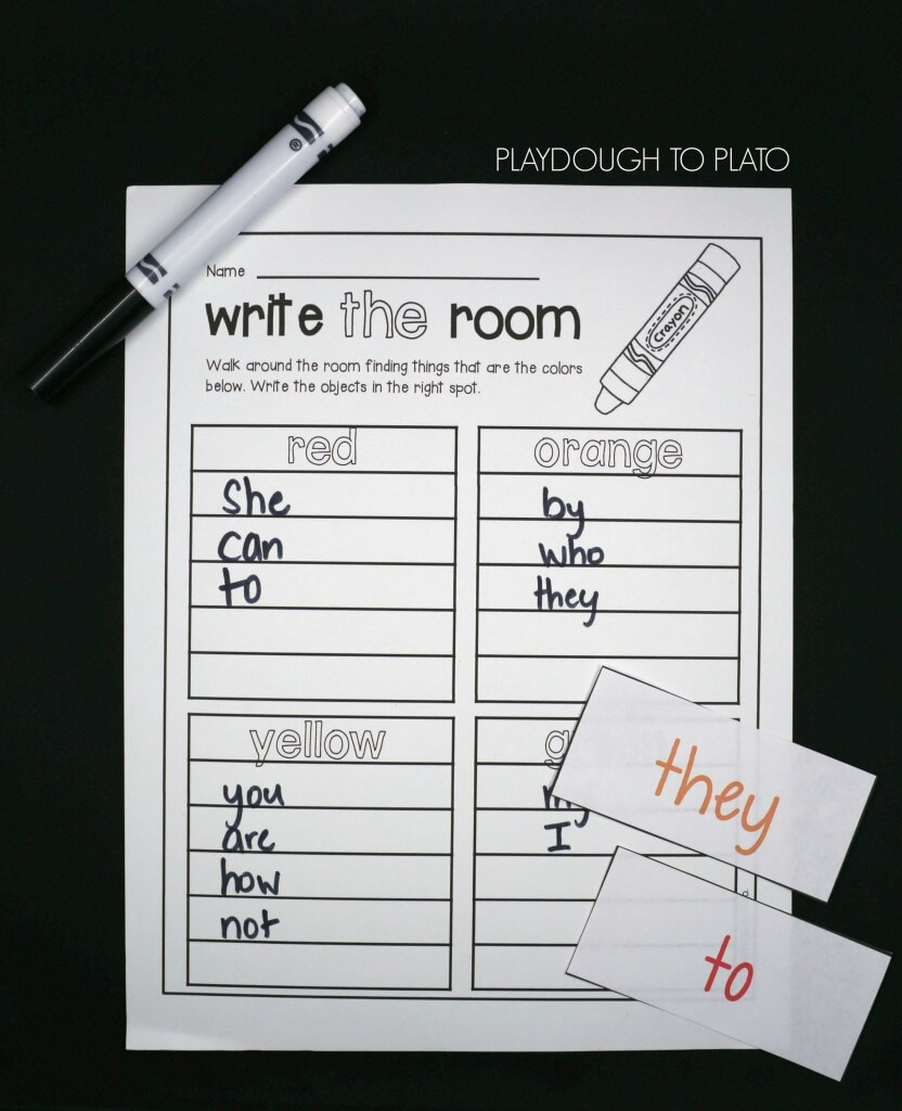 Fun twist on write the room! Find words that fit in each color!!