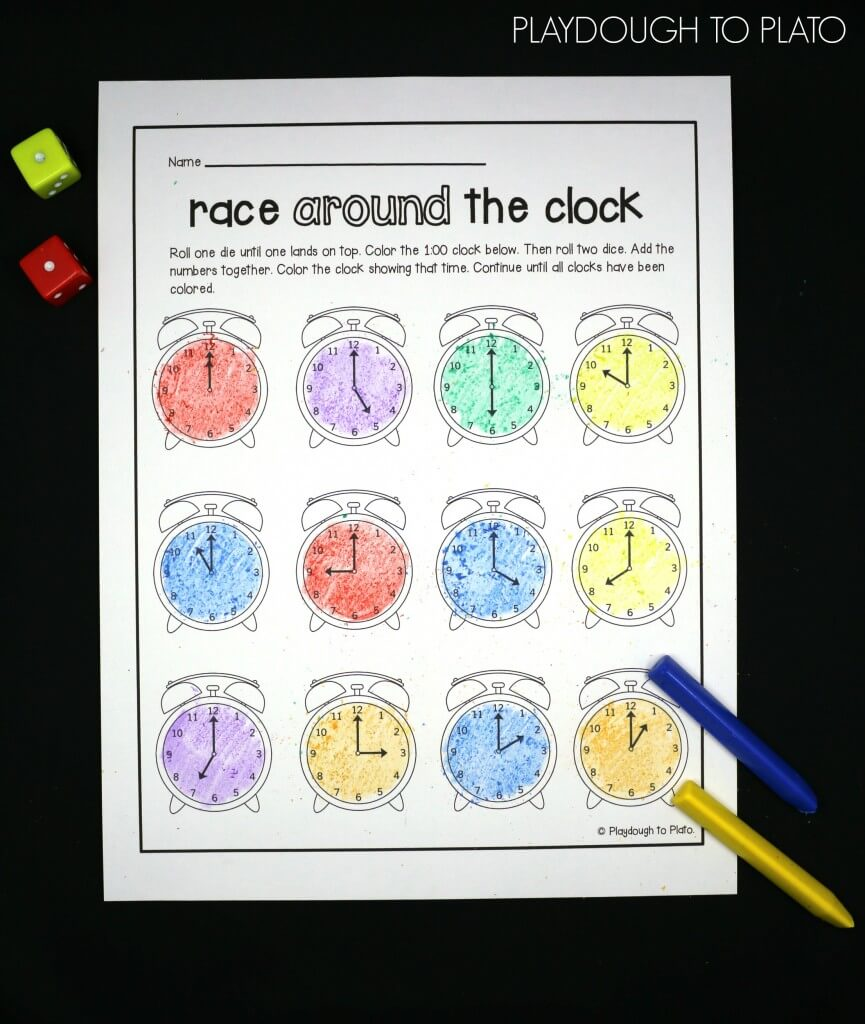 Super fun telling time game for kids! Roll, add and color the clock that matches.