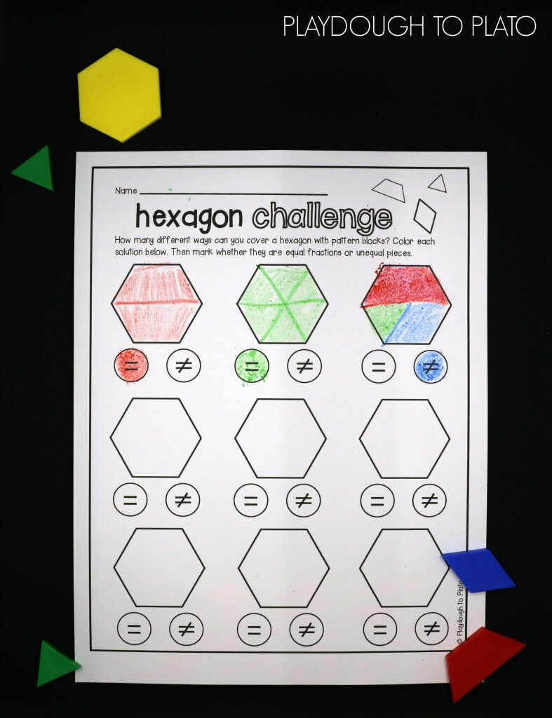 Awesome STEM activity for kids! How many different ways can you cover a hexagon with pattern blocks