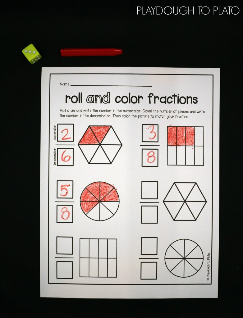 Roll and Color Fractions! What a fun way to work on numerators and denominators!