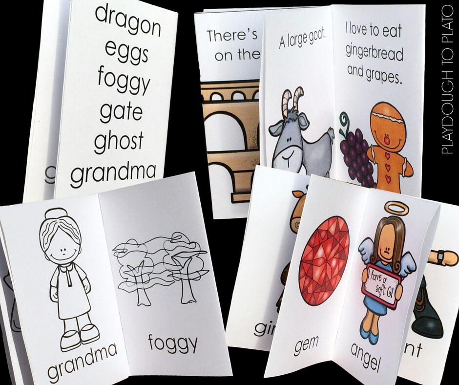 These lovely free little books focus on soft and hard G sounds.