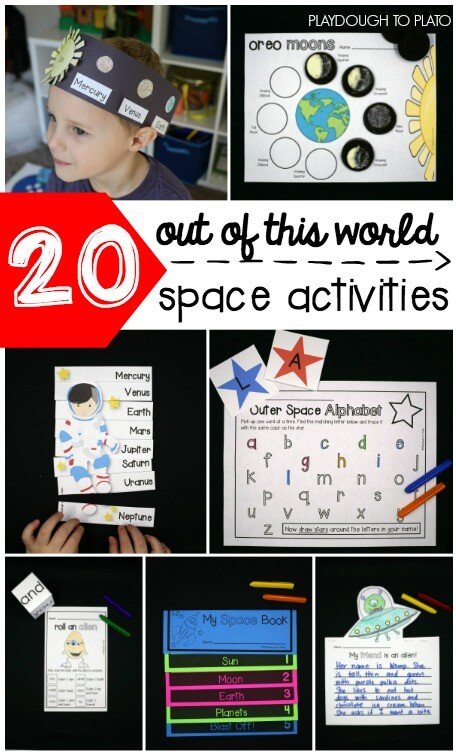 20 out of this world space activities for preschool, kindergarten, first grade and second grade. So many fun ways to learn about space!