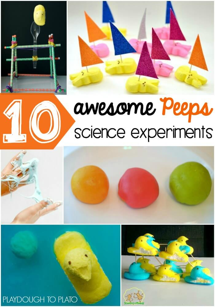 Awesome Peeps Science Experiments for Kids! Make a catapult, build Peeps boats, make one sink and one float... so many fun STEM ideas!