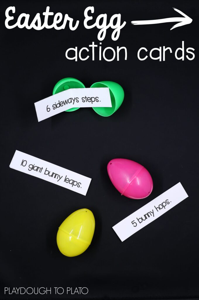 Free Easter egg action cards! Super fun non-candy Easter egg stuffer.