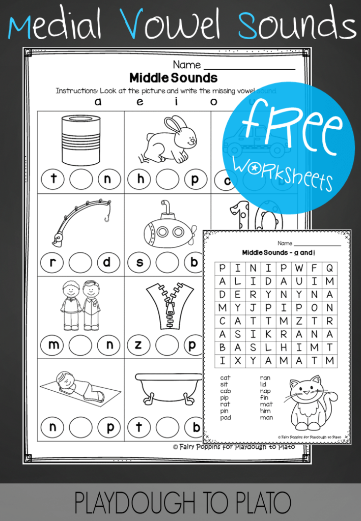 Medial Vowel Sounds Worksheets - Playdough To Plato