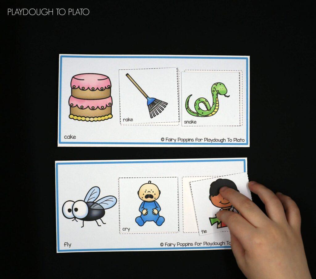 Such a fun rhyming activity for preschool or kindergarten! FREE rhyming mats.