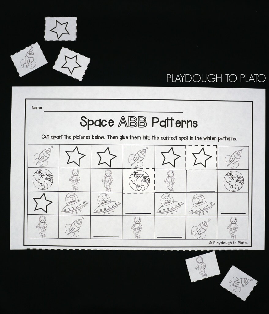Work on AB, ABB and ABC patterns with mini astronauts.