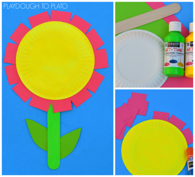 Paper Plate Flower Craft For Kids Playdough To Plato