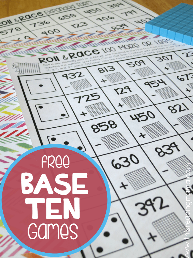 FREE Base Ten Games - Roll and Race - This Reading Mama